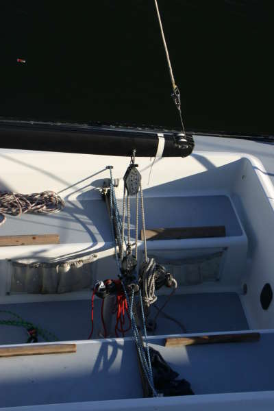 Barney post for mainsheet traveler & backstay adjuster by Will Paxton- Magic Bus