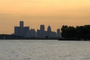 Detroit Skyline as we approach finish of North Channel Race